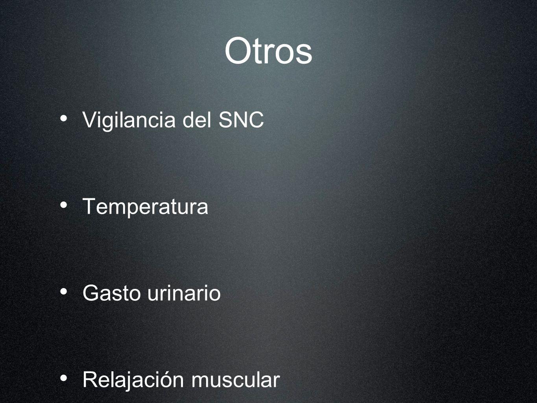 Otros Vigilancia del SNC Temperatura Gasto urinario Relajación muscular