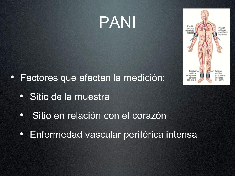 PANI Factores que afectan la medición: Sitio de la muestra Sitio en relación con el corazón Enfermedad vascular periférica intensa