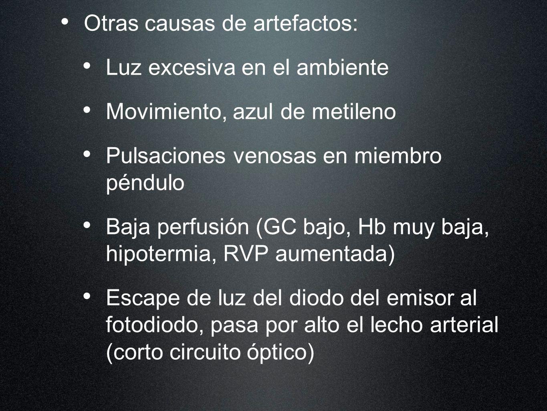 Otras causas de artefactos: Luz excesiva en el ambiente Movimiento, azul de metileno Pulsaciones venosas en miembro péndulo Baja perfusión (GC bajo, H