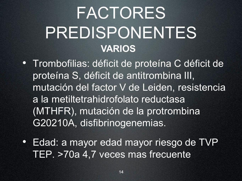 14 FACTORES PREDISPONENTES Trombofilias: déficit de proteína C déficit de proteína S, déficit de antitrombina III, mutación del factor V de Leiden, re