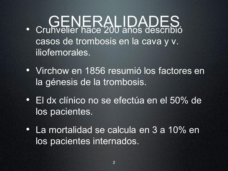 2 GENERALIDADES Cruhvelier hace 200 años describió casos de trombosis en la cava y v. iliofemorales. Virchow en 1856 resumió los factores en la génesi