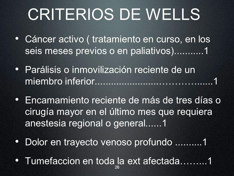 26 CRITERIOS DE WELLS Cáncer activo ( tratamiento en curso, en los seis meses previos o en paliativos)...........1 Parálisis o inmovilización reciente
