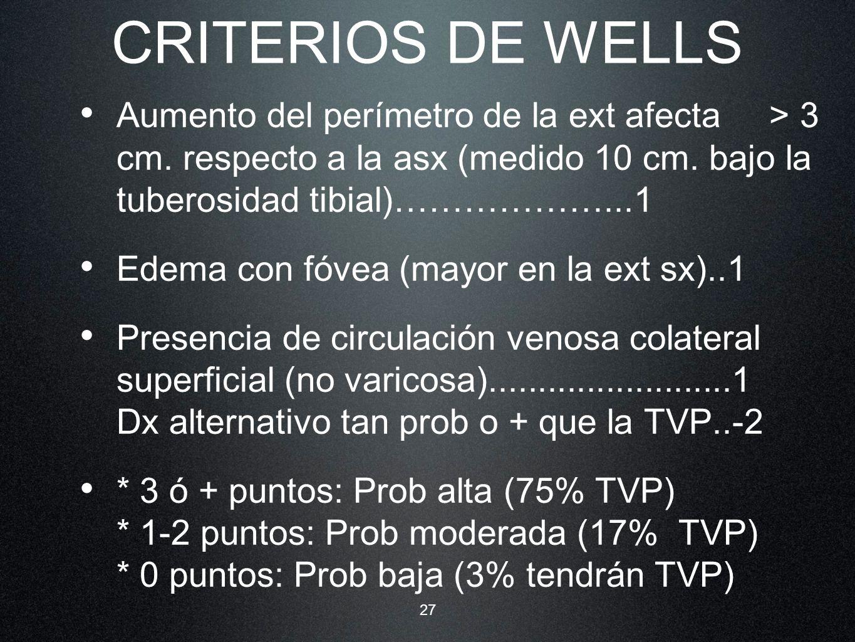 27 CRITERIOS DE WELLS Aumento del perímetro de la ext afecta > 3 cm. respecto a la asx (medido 10 cm. bajo la tuberosidad tibial)………………...1 Edema con