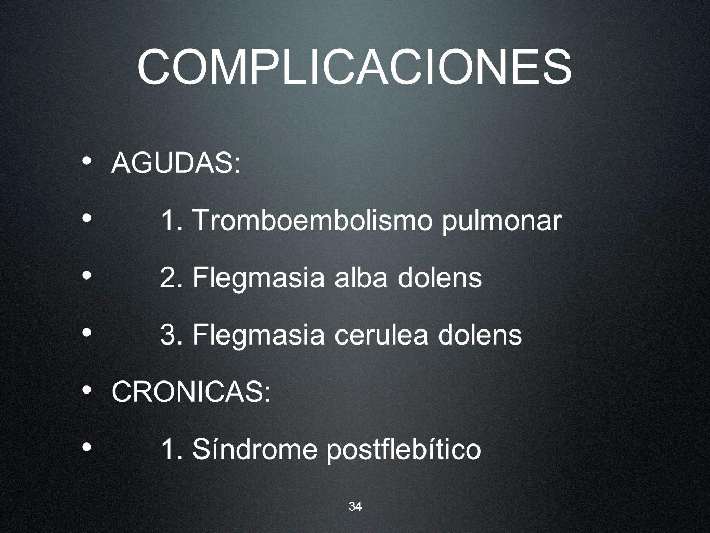 34 COMPLICACIONES AGUDAS: 1. Tromboembolismo pulmonar 2. Flegmasia alba dolens 3. Flegmasia cerulea dolens CRONICAS: 1. Síndrome postflebítico