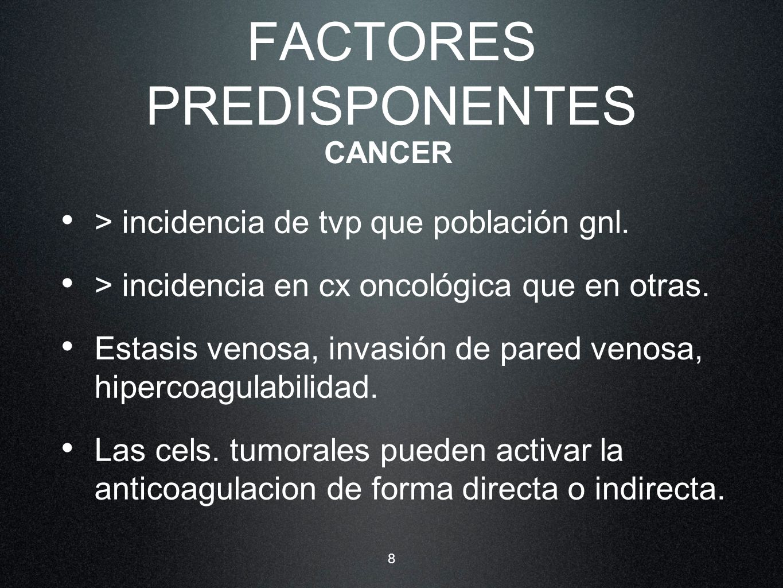 8 FACTORES PREDISPONENTES > incidencia de tvp que población gnl. > incidencia en cx oncológica que en otras. Estasis venosa, invasión de pared venosa,