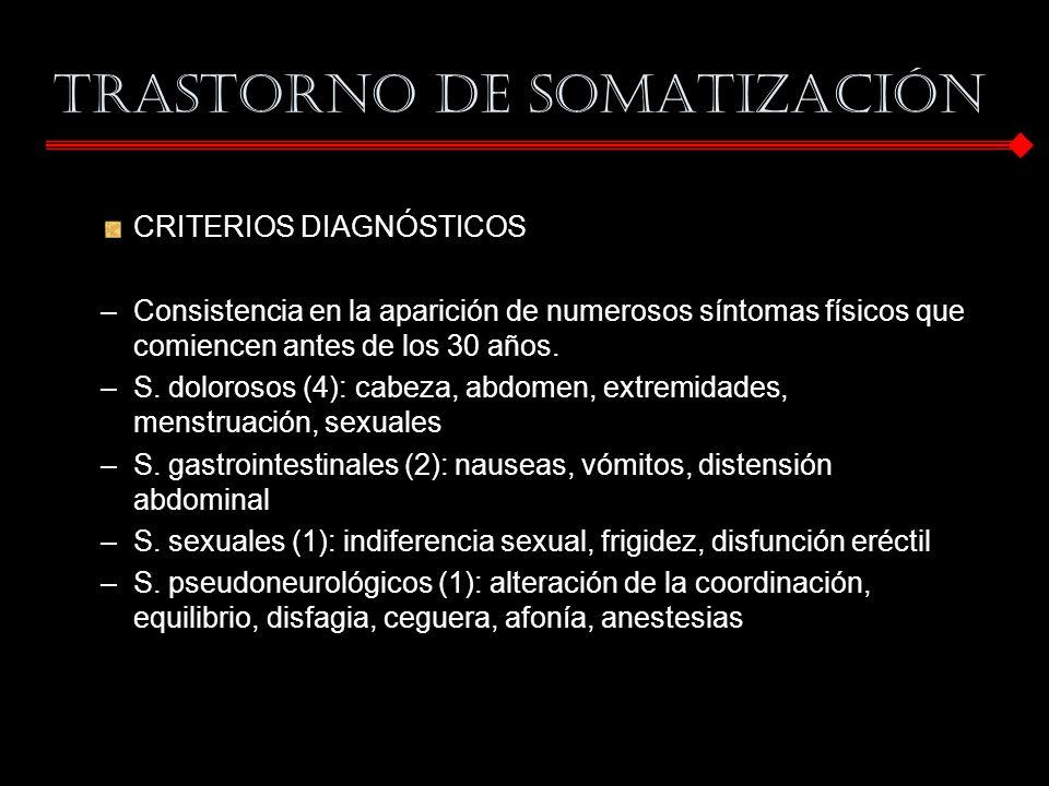 CRITERIOS DIAGNÓSTICOS –Consistencia en la aparición de numerosos síntomas físicos que comiencen antes de los 30 años. –S. dolorosos (4): cabeza, abdo