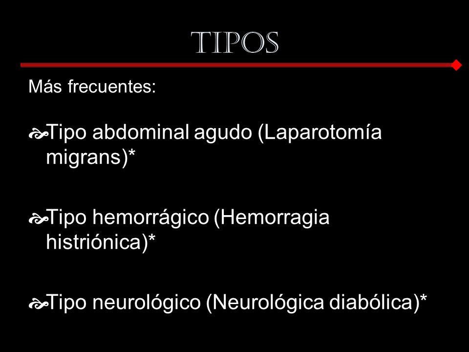 Tipos Más frecuentes: Tipo abdominal agudo (Laparotomía migrans)* Tipo hemorrágico (Hemorragia histriónica)* Tipo neurológico (Neurológica diabólica)*