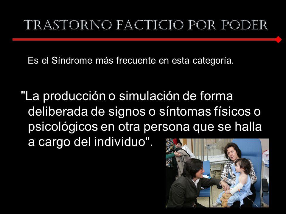 Trastorno Facticio por Poder Es el Síndrome más frecuente en esta categoría.