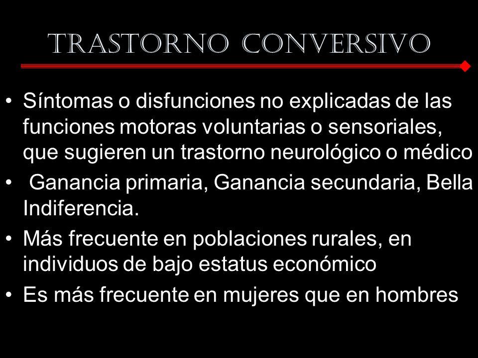 Trastorno conversivo Síntomas o disfunciones no explicadas de las funciones motoras voluntarias o sensoriales, que sugieren un trastorno neurológico o