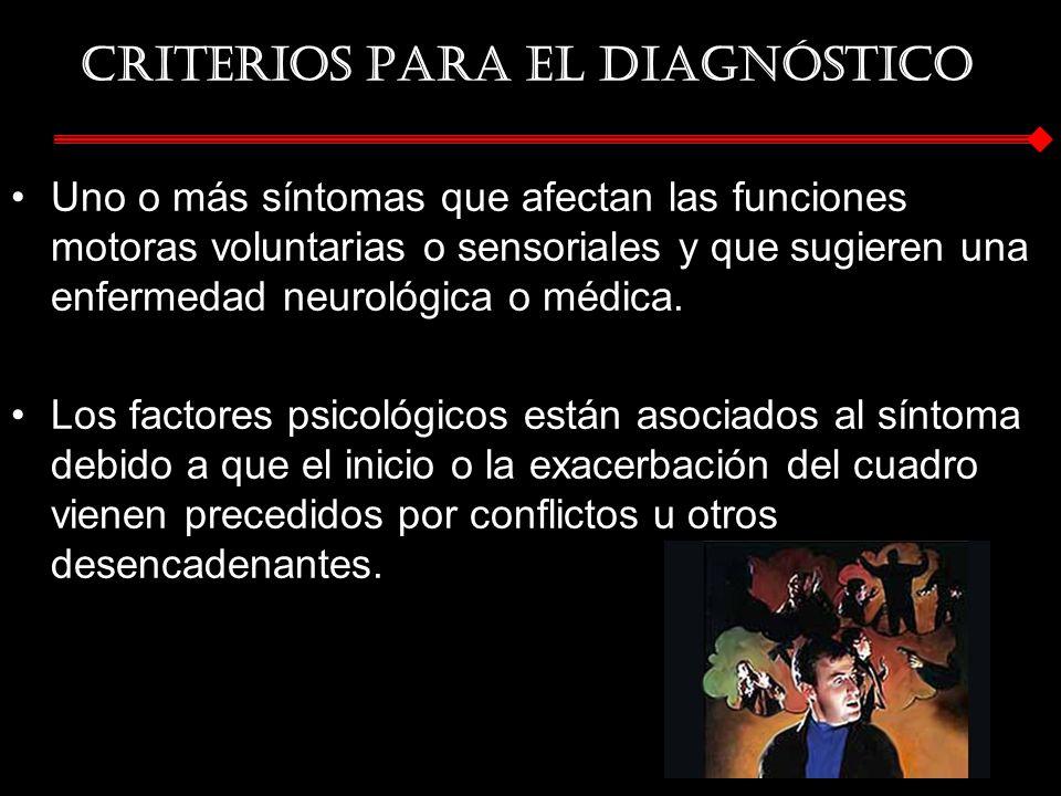 Criterios para el diagnóstico Uno o más síntomas que afectan las funciones motoras voluntarias o sensoriales y que sugieren una enfermedad neurológica