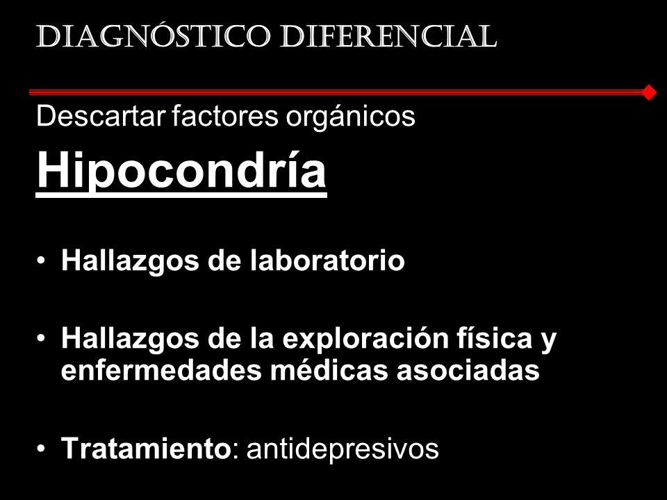 Diagnóstico diferencial Descartar factores orgánicos Hipocondría Hallazgos de laboratorio Hallazgos de la exploración física y enfermedades médicas as