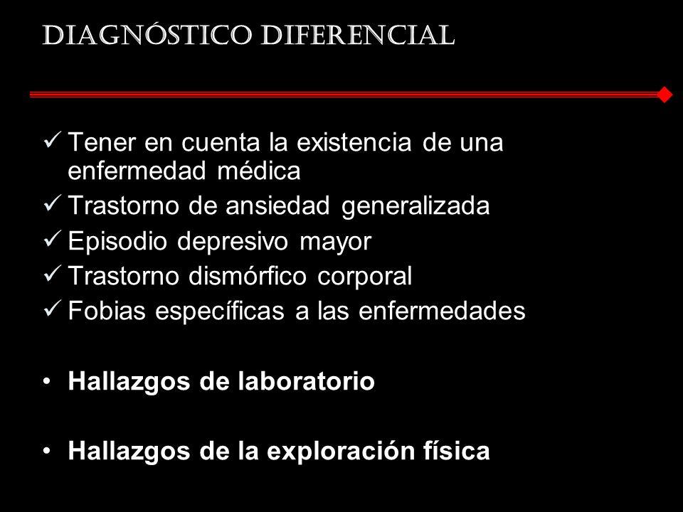 Diagnóstico diferencial Tener en cuenta la existencia de una enfermedad médica Trastorno de ansiedad generalizada Episodio depresivo mayor Trastorno d