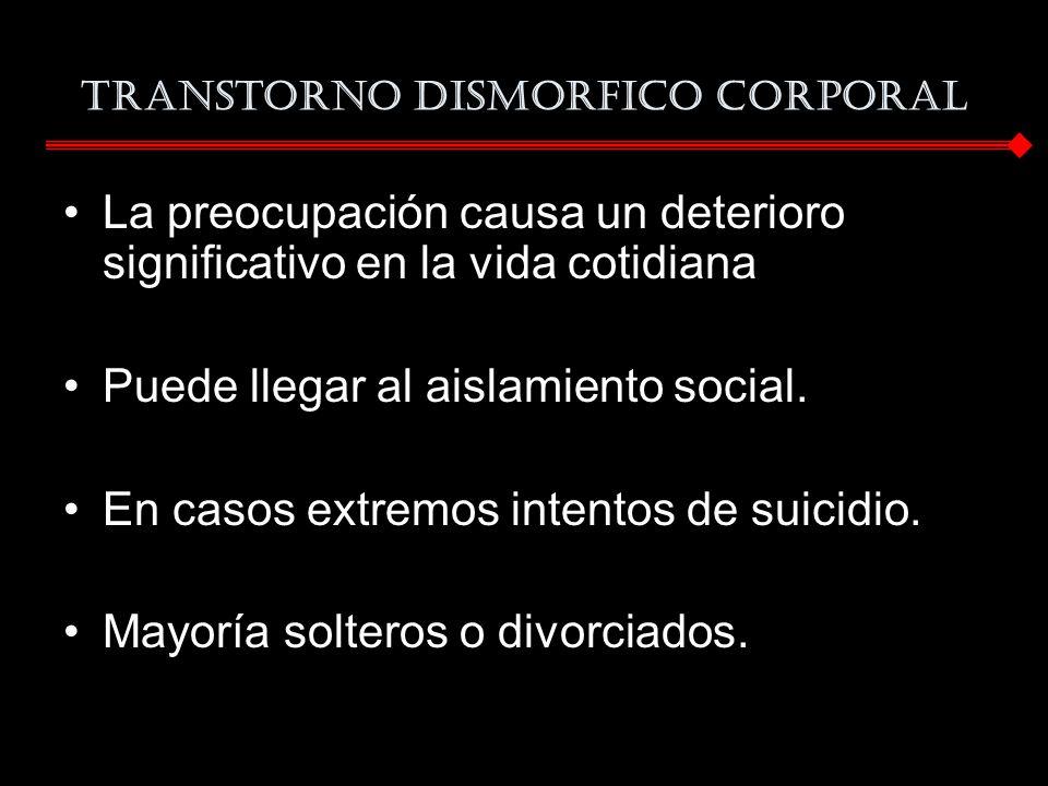 La preocupación causa un deterioro significativo en la vida cotidiana Puede llegar al aislamiento social. En casos extremos intentos de suicidio. Mayo