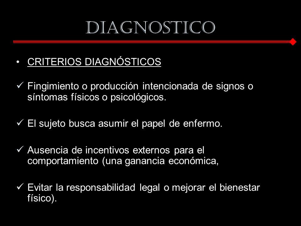 DIAGNOSTICO CRITERIOS DIAGNÓSTICOS Fingimiento o producción intencionada de signos o síntomas físicos o psicológicos. El sujeto busca asumir el papel