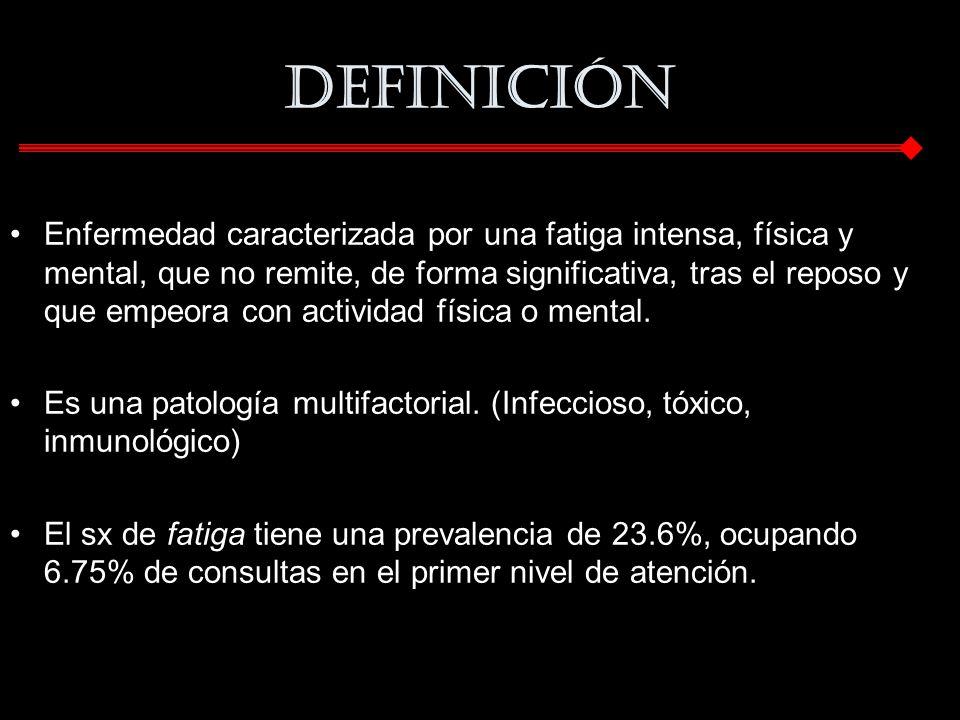 Definición Enfermedad caracterizada por una fatiga intensa, física y mental, que no remite, de forma significativa, tras el reposo y que empeora con a