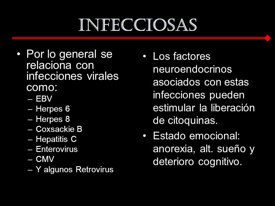 Infecciosas Por lo general se relaciona con infecciones virales como: –EBV –Herpes 6 –Herpes 8 –Coxsackie B –Hepatitis C –Enterovirus –CMV –Y algunos