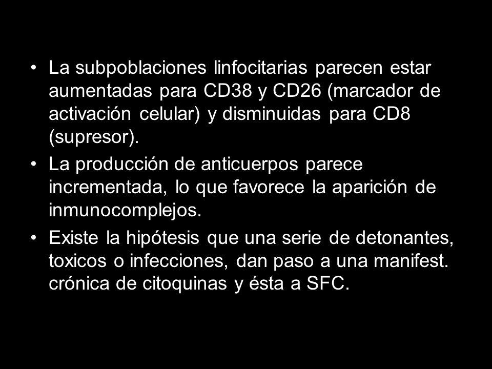 La subpoblaciones linfocitarias parecen estar aumentadas para CD38 y CD26 (marcador de activación celular) y disminuidas para CD8 (supresor). La produ