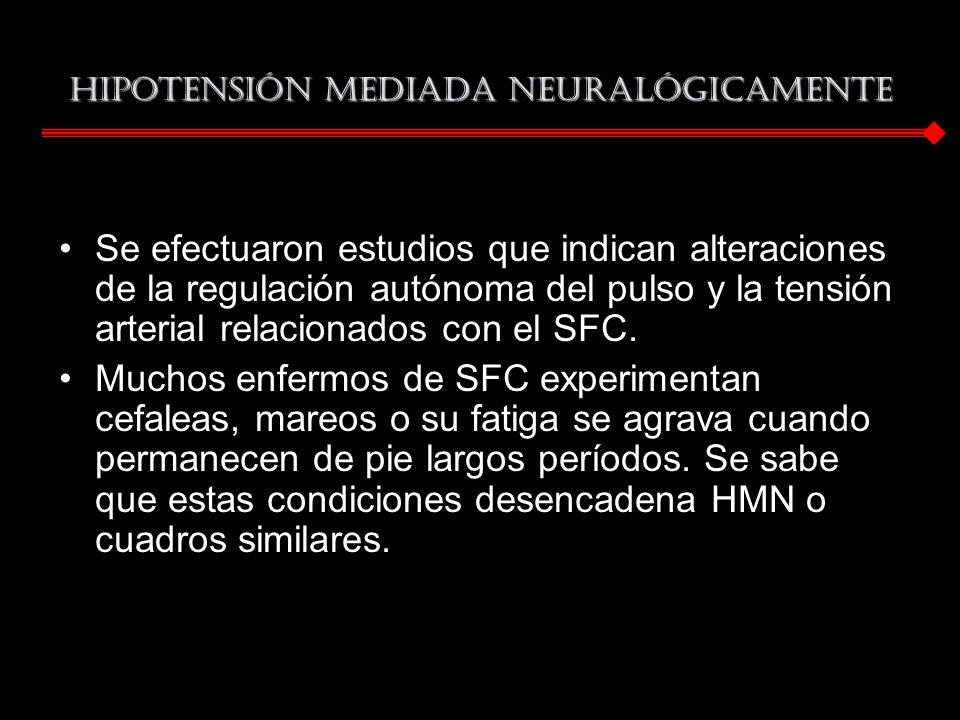 Hipotensión mediada neuralógicamente Se efectuaron estudios que indican alteraciones de la regulación autónoma del pulso y la tensión arterial relacio