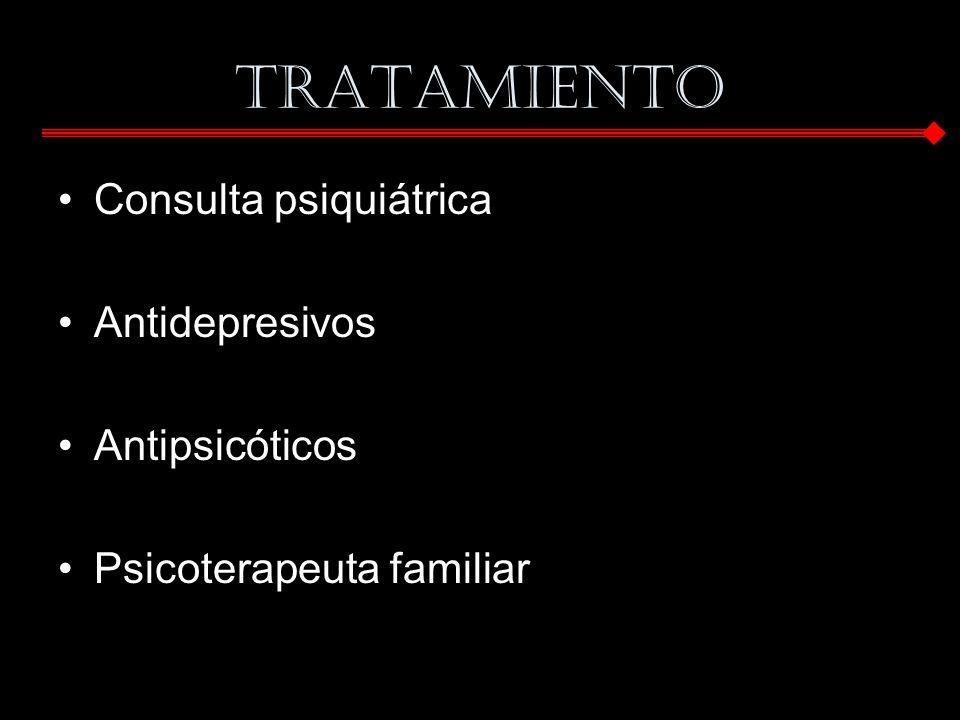 TRATAMIENTO Consulta psiquiátrica Antidepresivos Antipsicóticos Psicoterapeuta familiar