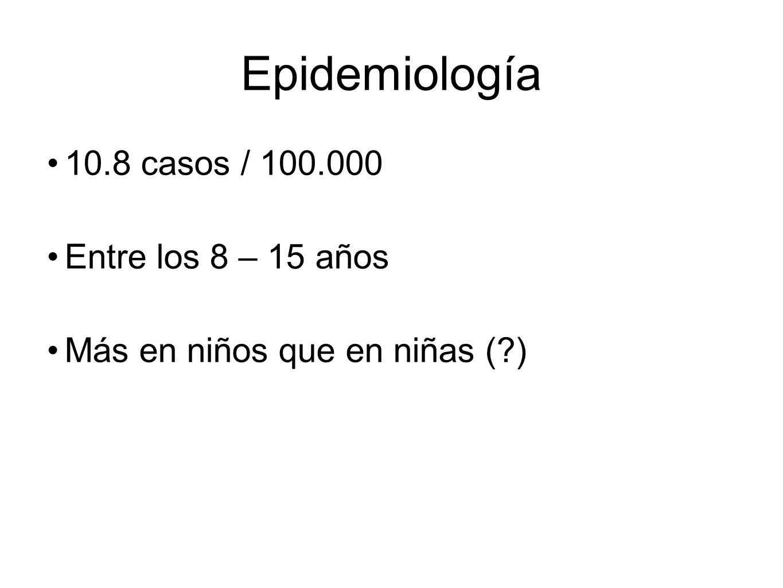 Epidemiología 10.8 casos / 100.000 Entre los 8 – 15 años Más en niños que en niñas (?)