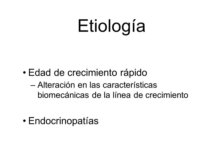 Etiología Edad de crecimiento rápido –Alteración en las características biomecánicas de la línea de crecimiento Endocrinopatías
