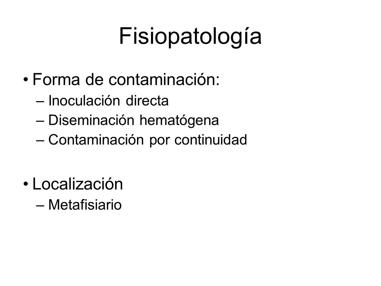 Fisiopatología Forma de contaminación: –Inoculación directa –Diseminación hematógena –Contaminación por continuidad Localización –Metafisiario