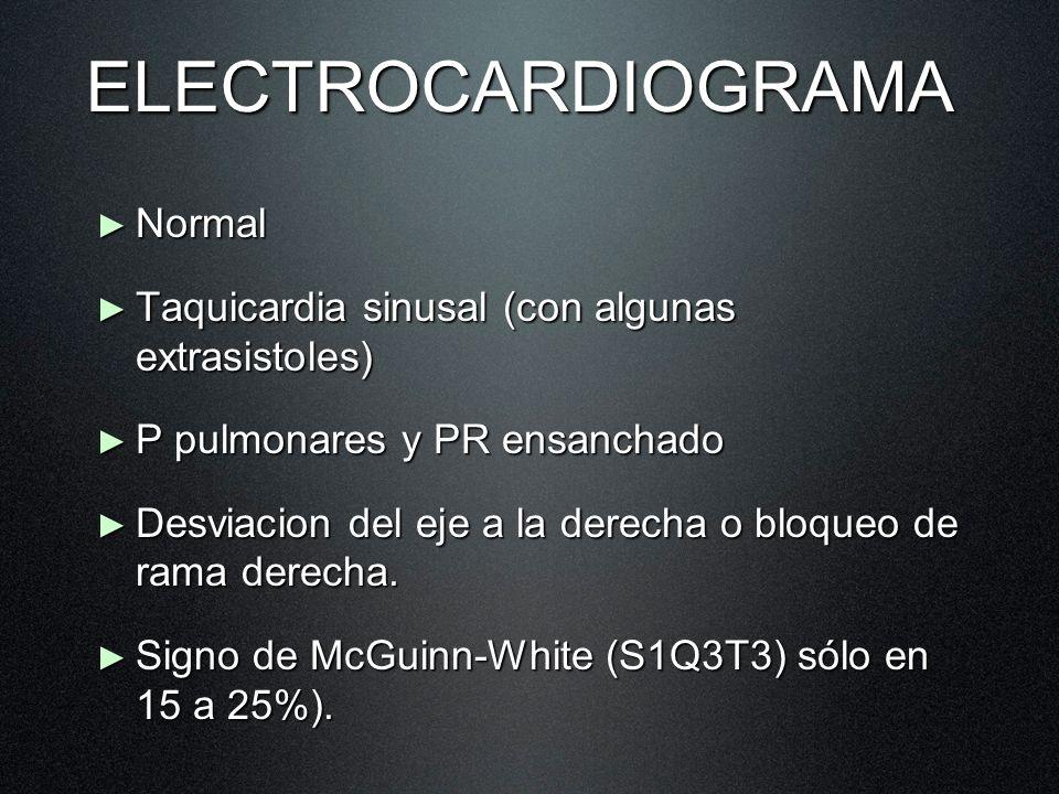 ELECTROCARDIOGRAMA Normal Normal Taquicardia sinusal (con algunas extrasistoles) Taquicardia sinusal (con algunas extrasistoles) P pulmonares y PR ens