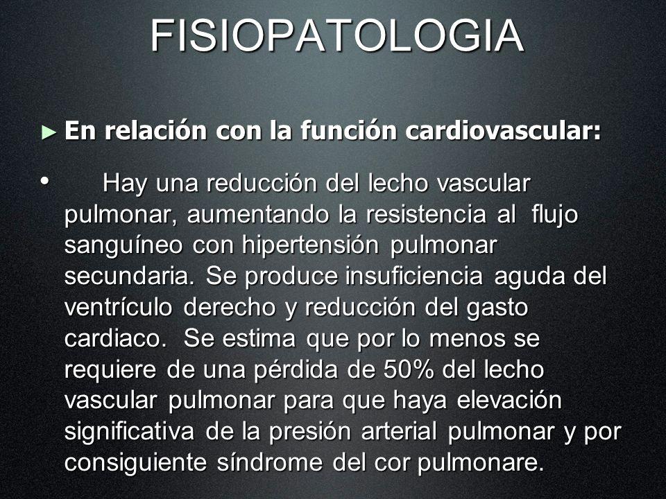 FISIOPATOLOGIA En relación con la función cardiovascular: En relación con la función cardiovascular: Hay una reducción del lecho vascular pulmonar, au