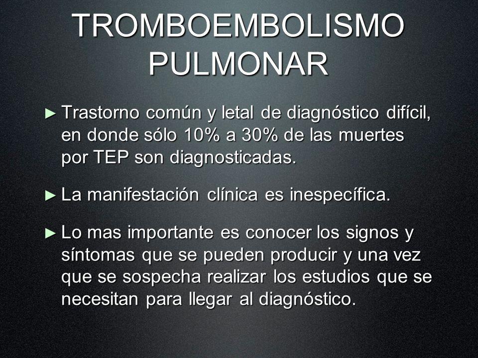 TROMBOEMBOLISMO PULMONAR Trastorno común y letal de diagnóstico difícil, en donde sólo 10% a 30% de las muertes por TEP son diagnosticadas. Trastorno