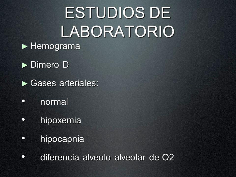ESTUDIOS DE LABORATORIO Hemograma Hemograma Dimero D Dimero D Gases arteriales: Gases arteriales: normal normal hipoxemia hipoxemia hipocapnia hipocap
