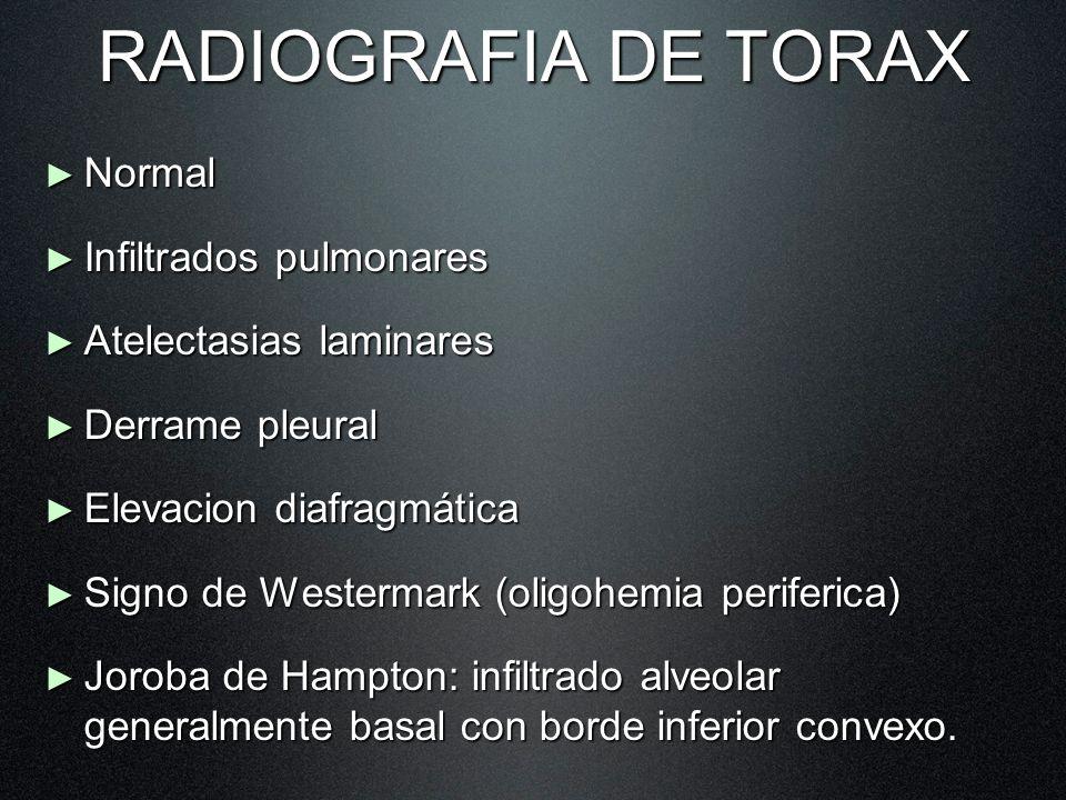 RADIOGRAFIA DE TORAX Normal Normal Infiltrados pulmonares Infiltrados pulmonares Atelectasias laminares Atelectasias laminares Derrame pleural Derrame