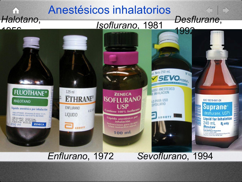 Halotano, 1956 Enflurano, 1972 Isoflurano, 1981 Sevoflurano, 1994 Anestésicos inhalatorios Desflurane, 1992