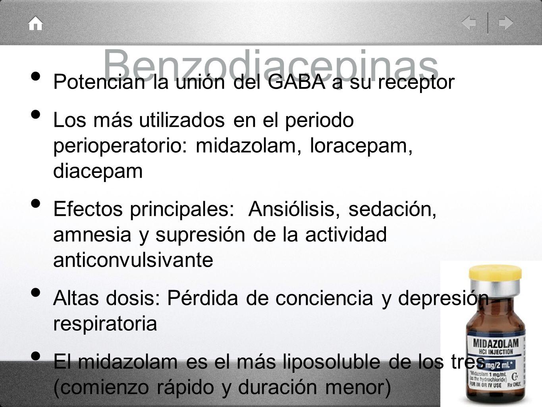 Benzodiacepinas Potencian la unión del GABA a su receptor Los más utilizados en el periodo perioperatorio: midazolam, loracepam, diacepam Efectos prin