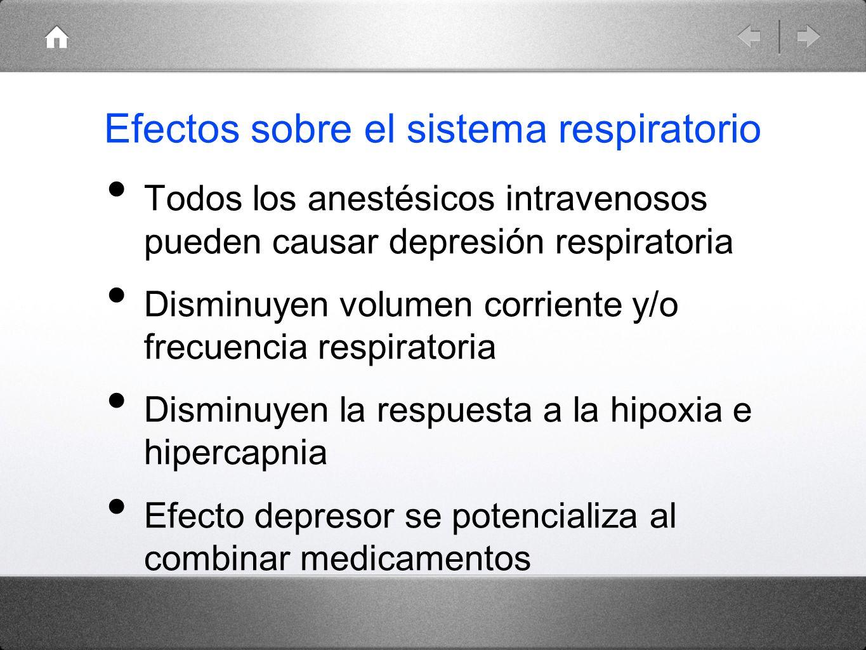 Efectos sobre el sistema respiratorio Todos los anestésicos intravenosos pueden causar depresión respiratoria Disminuyen volumen corriente y/o frecuen
