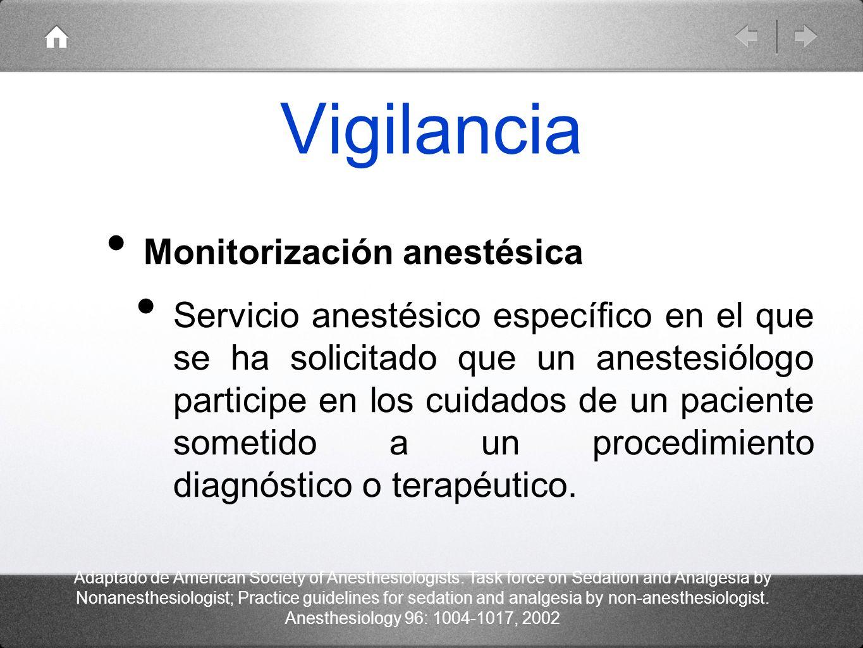 Vigilancia Monitorización anestésica Servicio anestésico específico en el que se ha solicitado que un anestesiólogo participe en los cuidados de un pa