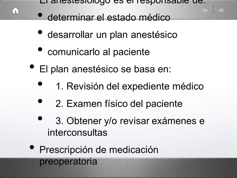 El anestesiólogo es el responsable de: determinar el estado médico desarrollar un plan anestésico comunicarlo al paciente El plan anestésico se basa e