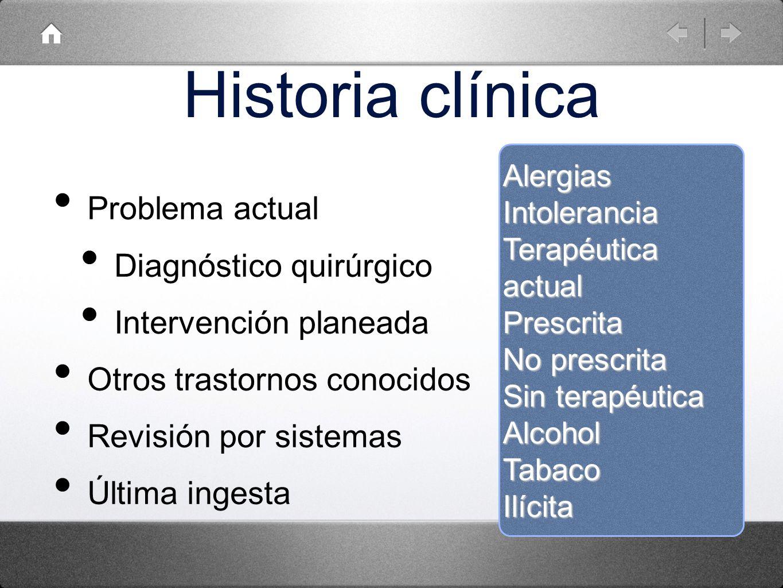 Historia clínica Problema actual Diagnóstico quirúrgico Intervención planeada Otros trastornos conocidos Revisión por sistemas Última ingesta Alergias