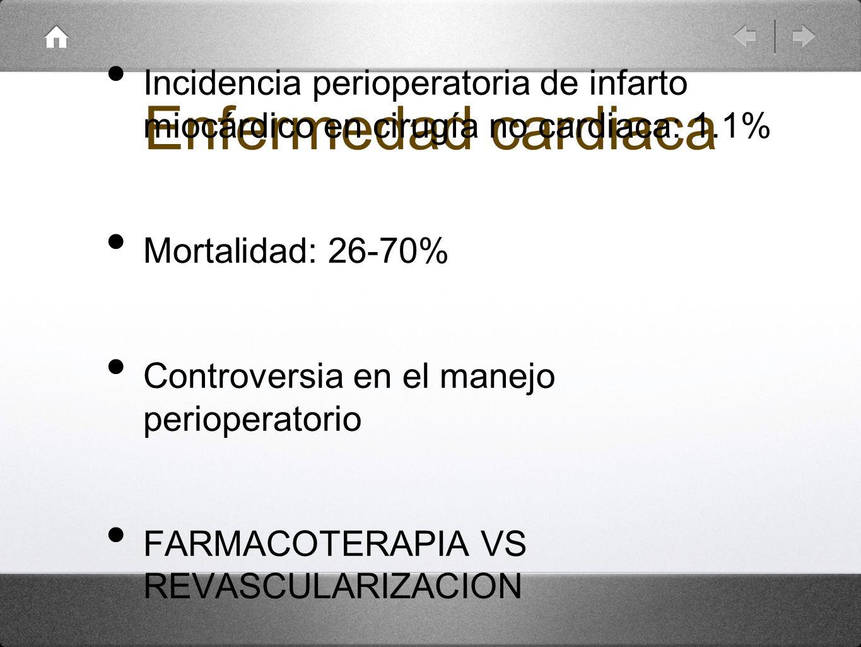 Enfermedad cardiaca Incidencia perioperatoria de infarto miocárdico en cirugía no cardiaca: 1.1% Mortalidad: 26-70% Controversia en el manejo perioper