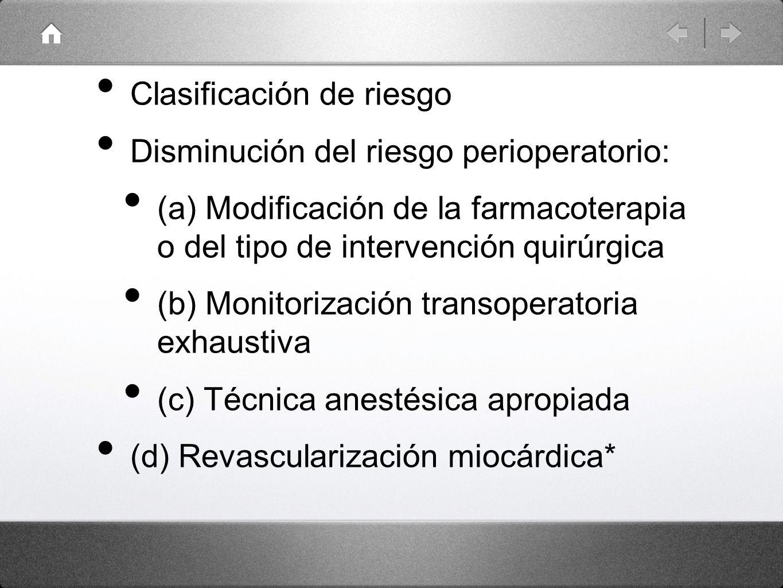 Clasificación de riesgo Disminución del riesgo perioperatorio: (a) Modificación de la farmacoterapia o del tipo de intervención quirúrgica (b) Monitor
