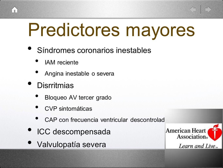 Predictores mayores Síndromes coronarios inestables IAM reciente Angina inestable o severa Disrritmias Bloqueo AV tercer grado CVP sintomáticas CAP co
