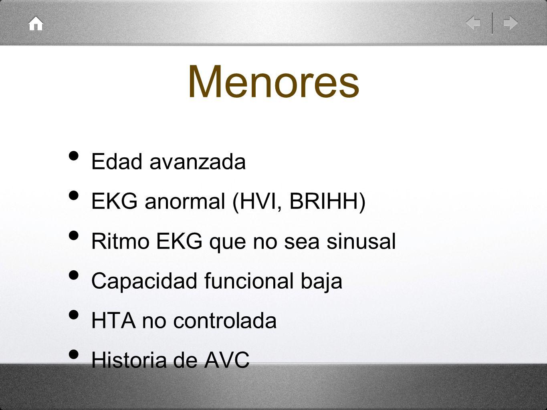 Menores Edad avanzada EKG anormal (HVI, BRIHH) Ritmo EKG que no sea sinusal Capacidad funcional baja HTA no controlada Historia de AVC