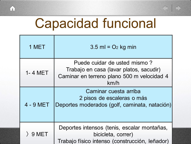 Capacidad funcional 1 MET3.5 ml = O 2 kg min 1- 4 MET Puede cuidar de usted mismo ? Trabajo en casa (lavar platos, sacudir) Caminar en terreno plano 5