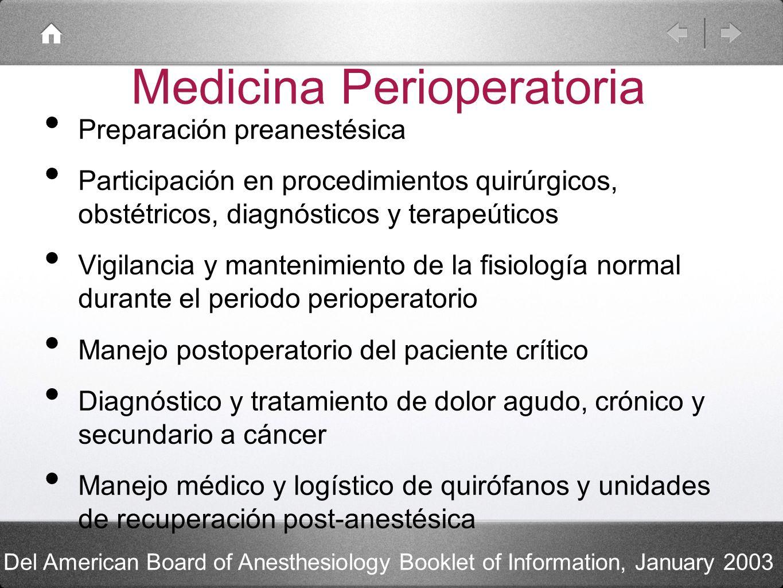 Medicina Perioperatoria Preparación preanestésica Participación en procedimientos quirúrgicos, obstétricos, diagnósticos y terapeúticos Vigilancia y m