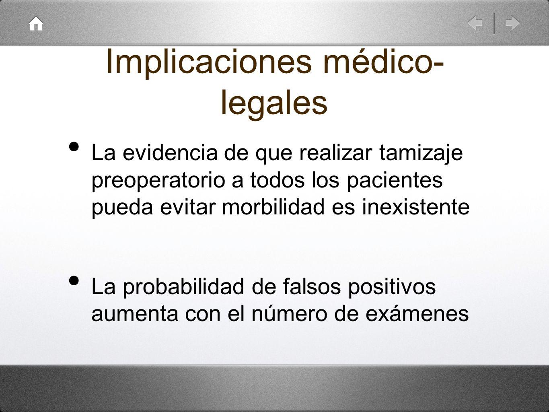 Implicaciones médico- legales La evidencia de que realizar tamizaje preoperatorio a todos los pacientes pueda evitar morbilidad es inexistente La prob