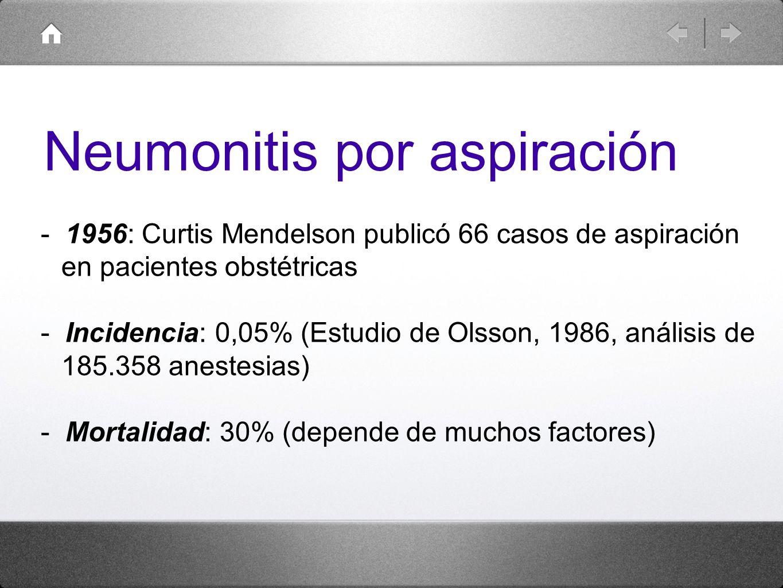 - 1956: Curtis Mendelson publicó 66 casos de aspiración en pacientes obstétricas - Incidencia: 0,05% (Estudio de Olsson, 1986, análisis de 185.358 ane