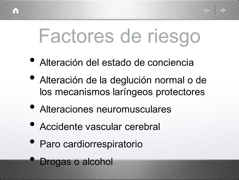 Factores de riesgo Alteración del estado de conciencia Alteración de la deglución normal o de los mecanismos laríngeos protectores Alteraciones neurom
