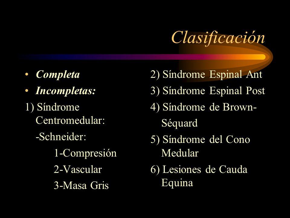 Clasificación Completa Incompletas: 1) Síndrome Centromedular: -Schneider: 1-Compresión 2-Vascular 3-Masa Gris 2) Síndrome Espinal Ant 3) Síndrome Esp