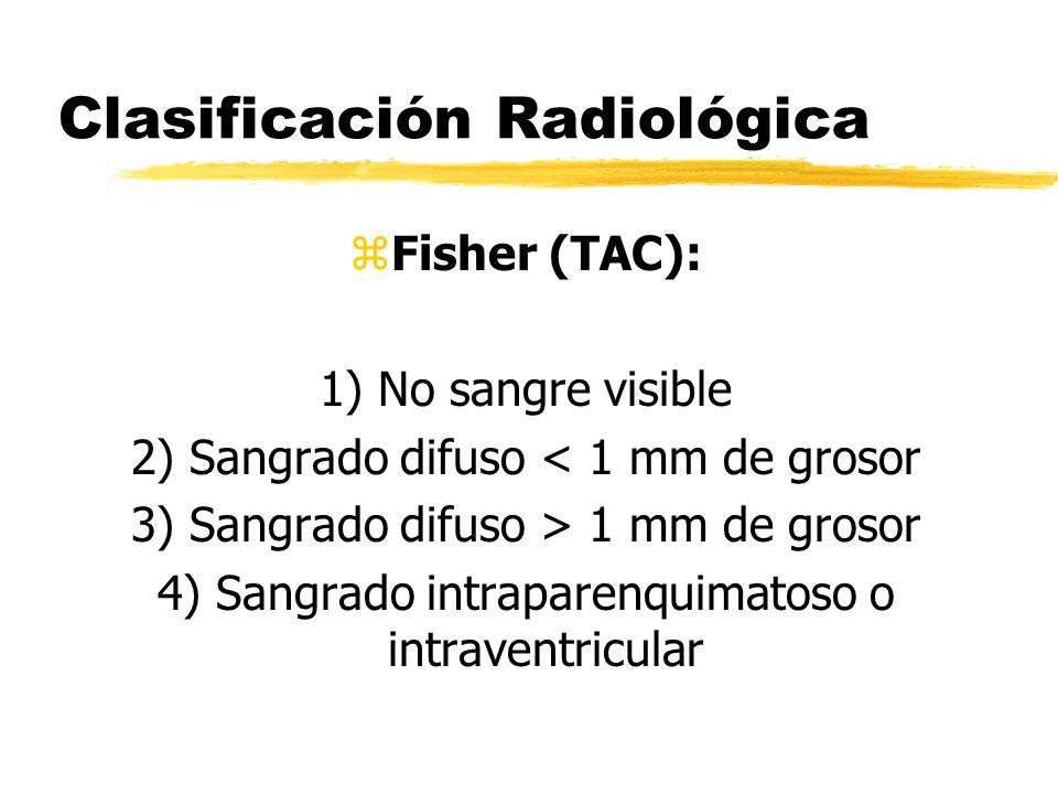 Clasificación Radiológica zFisher (TAC): 1) No sangre visible 2) Sangrado difuso < 1 mm de grosor 3) Sangrado difuso > 1 mm de grosor 4) Sangrado intr