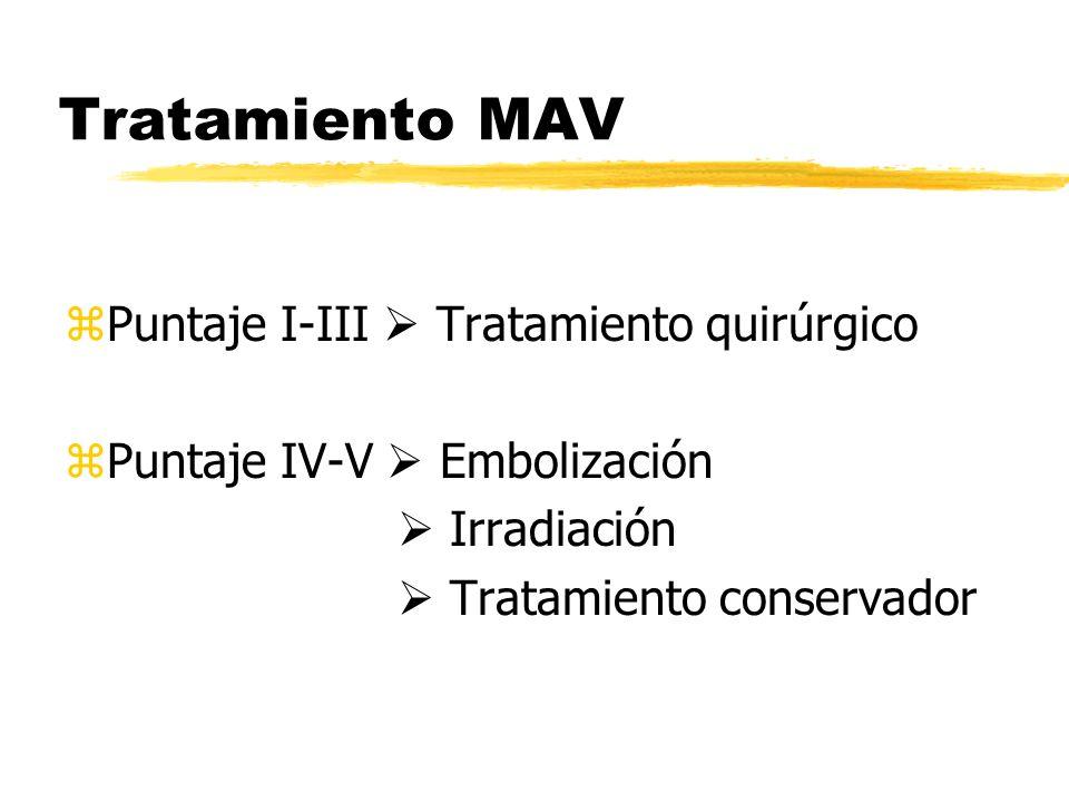 Tratamiento MAV zPuntaje I-III Tratamiento quirúrgico zPuntaje IV-V Embolización Irradiación Tratamiento conservador