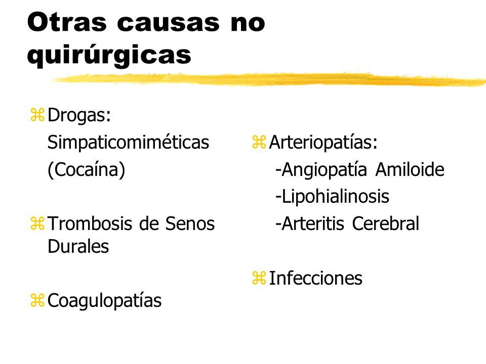 Otras causas no quirúrgicas zDrogas: Simpaticomiméticas (Cocaína) zTrombosis de Senos Durales zCoagulopatías z Arteriopatías: -Angiopatía Amiloide -Li